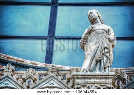 Mary Statue In Siena Duomo Facade
