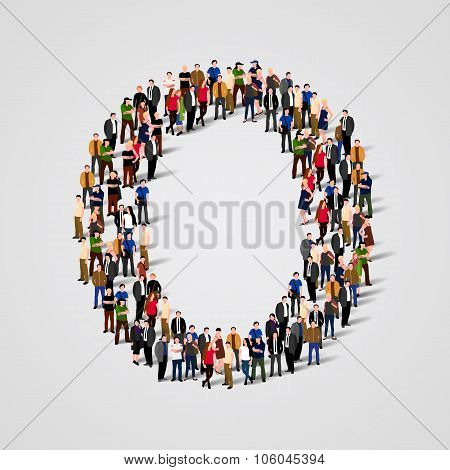 Large group of people in letter O form