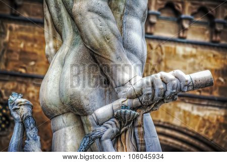 Close Up Of Neptune Hand With Rod In Piazza Della Signoria In Florence