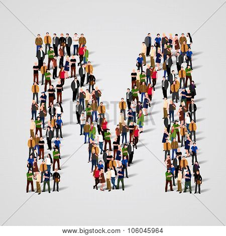 Large group of people in letter M form