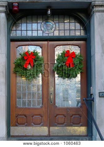 Christmas Wreaths On Double Doors