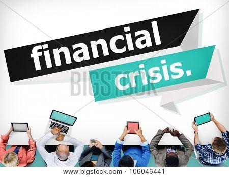 Financial Crisis Risk Profit Recession Revenue Concept