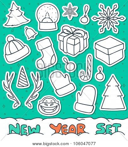 Set 20 Christmas doodle sketch objects for compositions, design