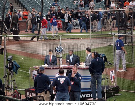 Mlb Network Broadcast Team Gets Ready For Pre-game Tv Show