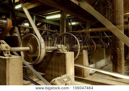 Old Heavy Machine Wheel Working By Hot Steam In Ancient Tradition Factory