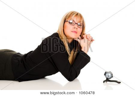 A Businesswoman And Webcam