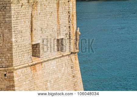 St Blaise statue on the defensive walls of Dubrovnik, Croatia, Adriatic coast