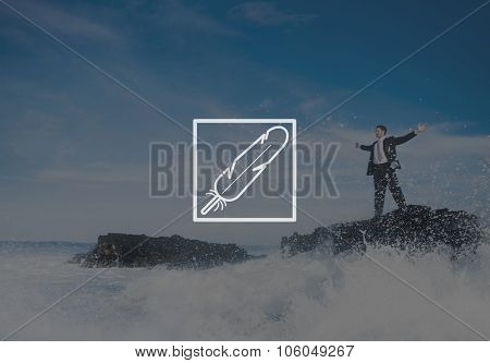 Businessman Staying Alone Island Carefree Concept