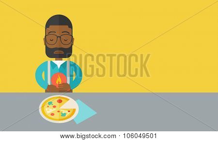 A sick african-american man with heartburn due to pizza holding hands on his stomach vector flat design illustration. Horizontal layout with a text space.