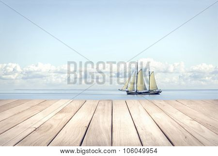 Wooden platform and yacht.