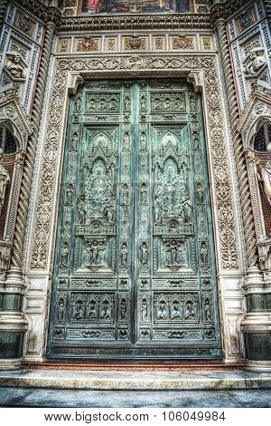 Front View Of Santa Maria Del Fiore Cathedral Main Door In Hdr