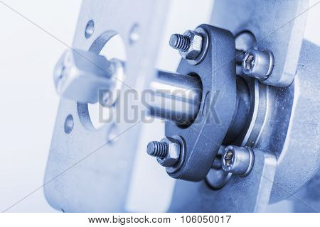 Detail mounting on the backflow valve to focus on the nuts