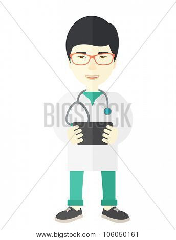 A happy asian doctor in glasses holding a radiograph vector flat design illustration isolated on white background. Vertical layout.
