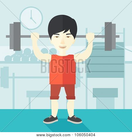 An asian man lifting a barbell inside the gym vector flat design illustration. Sport concept. Square layout.