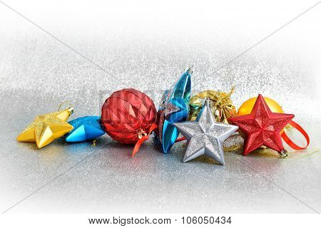 Christmas tree decorations on a white background