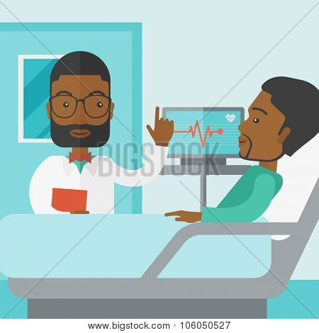A smiling african-american doctor visits a patient lying on hospital bed  vector flat design illustration. Square layout.