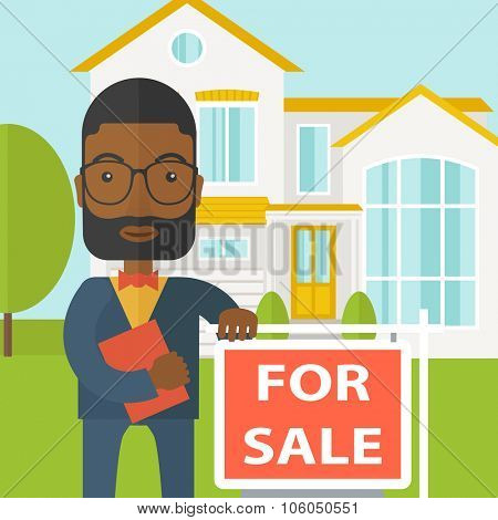 An african-american real estate agent with beard and glasses holding the document and placard for sale on house background vector flat design illustration. Square layout.
