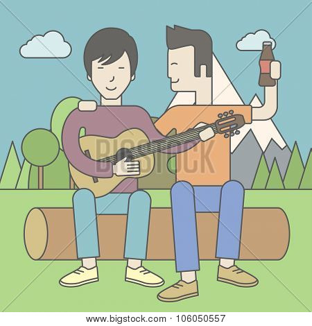 Two happy asian men sitting on a log playing a guitar. Vector line design illustration. Square layout.