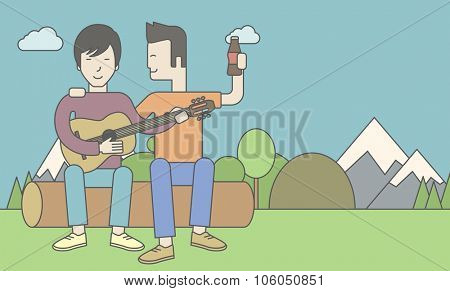Two happy asian men sitting on a log playing a guitar. Vector line design illustration. Horizontal layout with a text space for a social media post.