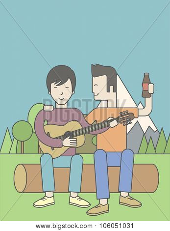 Two happy asian men sitting on a log playing a guitar. Vector line design illustration. Vertical layout with a text space for a social media post.