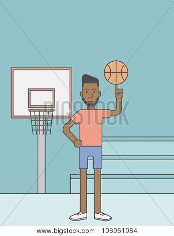 An african-american basketball player spinning the ball on his finger. Vector line design illustration. Vertical layout with a text space for a social media post.