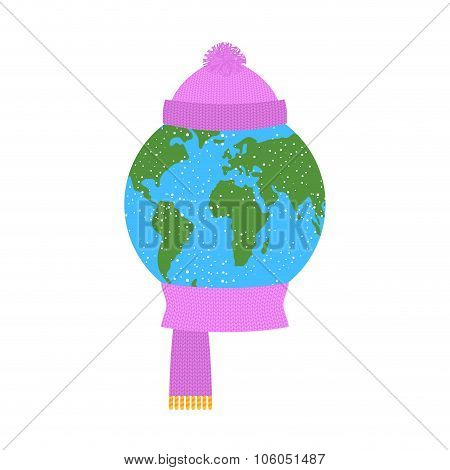 Earth Winter. Planet In  Knitted Hat And Scarf. Winter Clothes Dressed World. Snow Falls On Ground