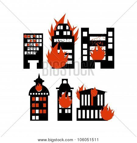 Fire  Building. Set Of Icons Lit City Buildings. Emergency Incident. Destruction Of Municipal And Pu