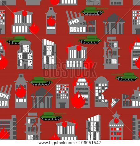 War Seamless Pattern. Ruined City. Tanks In Town. Skyscrapers And Public Buildings Destroyed. Backgr