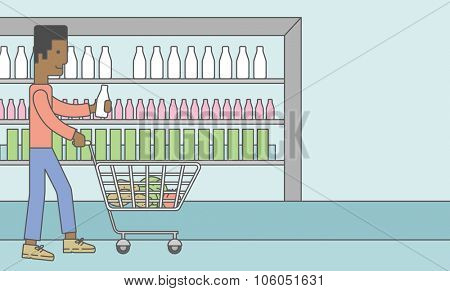 An african-american man pushing a supermarket cart with some goods in it on supermarket background. Vector line design illustration. Horizontal layout with a text space for a social media post.