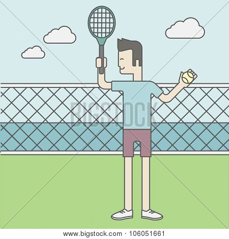 An asian tennis player standing with racquet and ball in hands at the net. Vector line design illustration. Square layout.