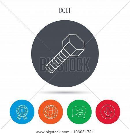 Screw icon. Bolt sign.