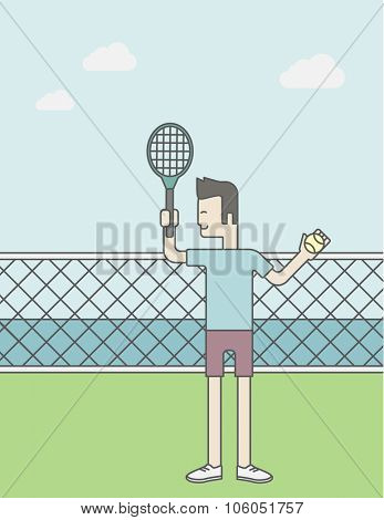 An asian tennis player standing with racquet and ball in hands at the net. Vector line design illustration. Vertical layout with a text space for a social media post.
