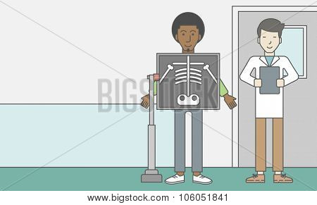 An african-american patient during an x-ray procedure and an asian doctor holding a radiograph. Vector line design illustration. Horizontal layout with a text space for a social media post.