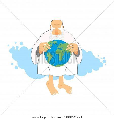 God Holds Earth. Old Man Sits In Heaven Keeps  Planet In Their Hands. Creator Looks At World.