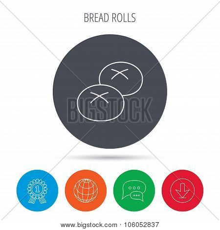 Bread rolls or buns icon. Natural food sign.