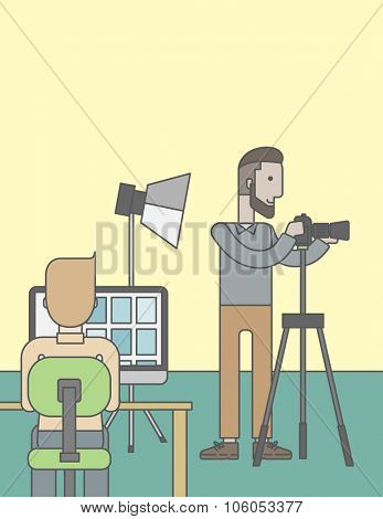 A caucasian hipster photographer stands with camera while another man sits in front of monitor in studio. Vector line design illustration. Vertical layout with a text space for a social media post.