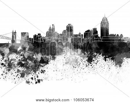 Cincinnati Skyline In Black Watercolor