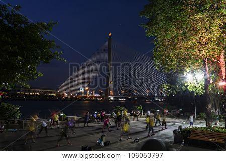 BANGKOK, THAILAND - MARCH 31: Bangkok Rama VIII bridge at twilight time Thailand. March 31, 2015, Bangkok,Thailand