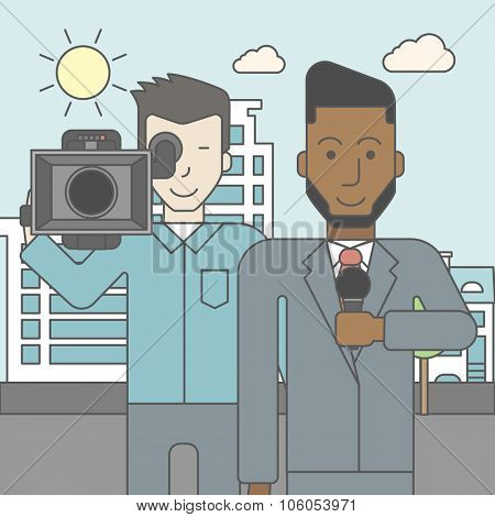 An asian cameraman filming an african-american reporter with beard on a city background. Vector line design illustration. Square layout.