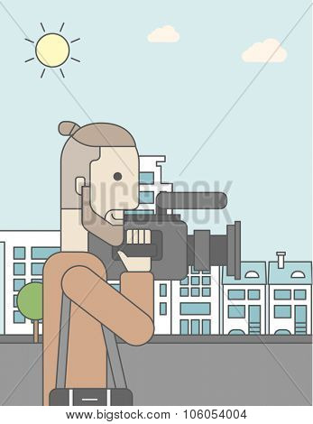 A caucasian hipster cameraman with video camera taking a video on a city background. Vector line design illustration. Vertical layout with a text space for a social media post.