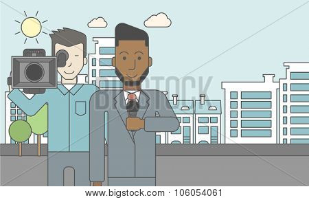 An asian cameraman filming an african-american reporter with beard on a city background. Vector line design illustration. Horizontal layout with a text space for a social media post.