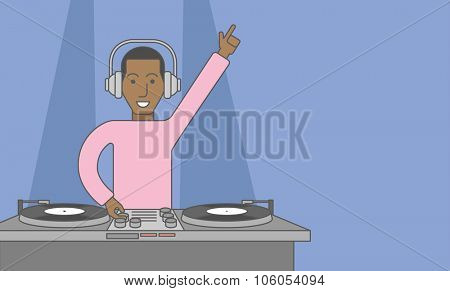 An african-american DJ wearing headphones playing music on turntable. Vector line design illustration. Horizontal layout with a text space for a social media post.