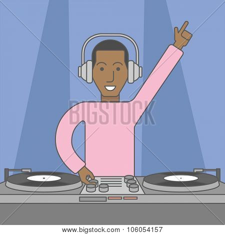 An african-american DJ wearing headphones playing music on turntable. Vector line design illustration. Square layout.