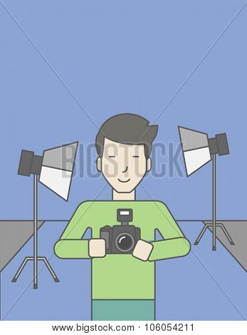 A smiling asian photographer holding a camera and standing inside the studio. Vector line design illustration. Vertical layout with a text space for a social media post.