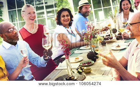 Diverse People Luncheon Food Summer Concept