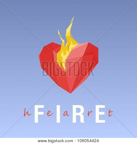 Burning Heart On A Gradient Background.