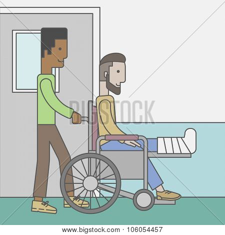 An african-american man carrying a patient with broken leg in the wheelchair. Vector line design illustration. Square layout.