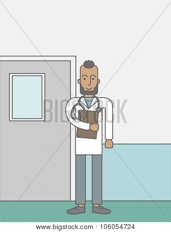 A happy african-american doctor with beard standing with stethoscope and a file on a hospital wall background.  Vector line design illustration. Vertical layout with a text space for a social media