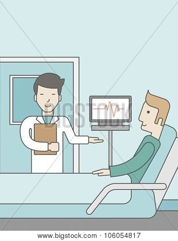 A smiling asian doctor visits a caucasian patient lying on bed in hospital ward, a monitor showing his heartbeat stands nearby.  Vector line design illustration. Vertical layout with a text space for