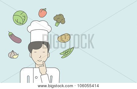 A cheerful asian chief-cooker in uniform with finger up and vegetables flying in air. Vector line design illustration. Horizontal layout with a text space for a social media post.